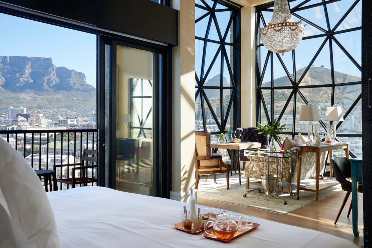 Table Mountain from inside a room at The Silo hotel in Cape Town